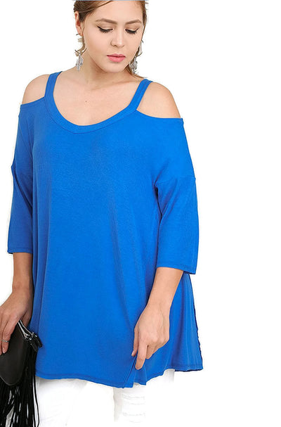 Cold Shoulder High Low Tunic, Cobalt