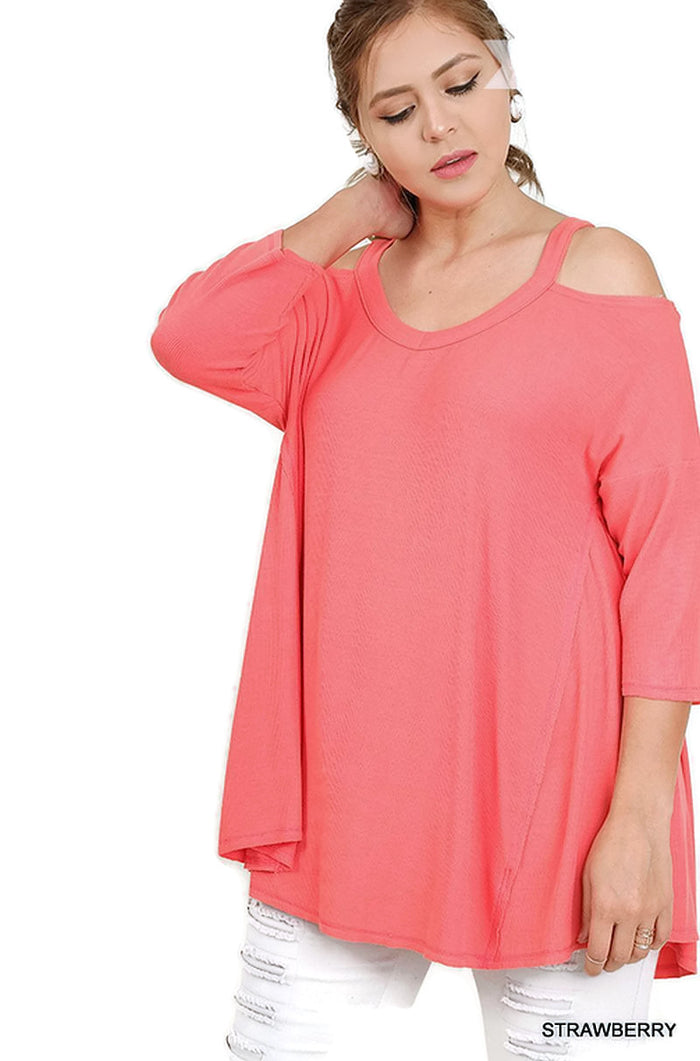 Cold Shoulder High Low Tunic, Strawberry