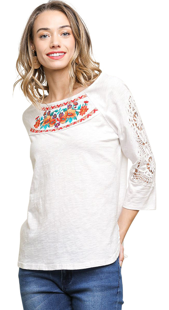 Crochet & Floral Embroidered Top, Off White
