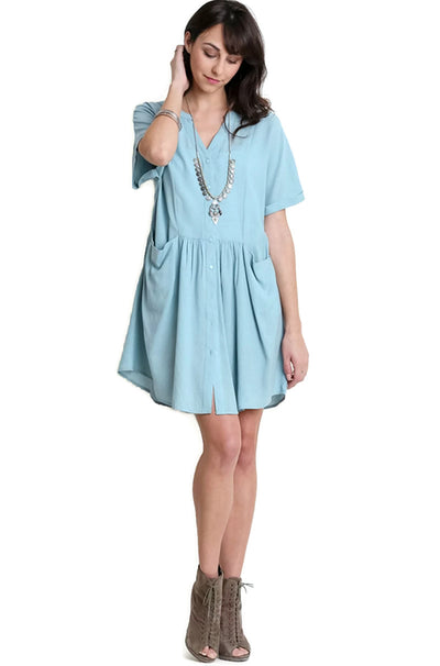 Short Sleeve Button Up Tunic, Blue