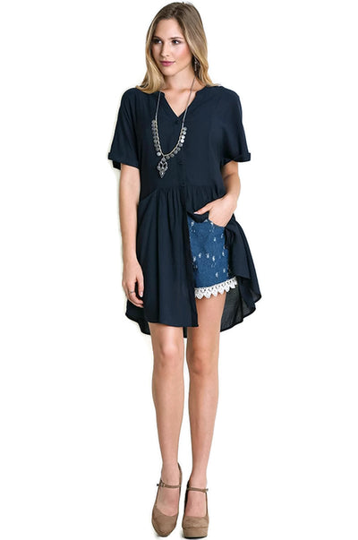 Short Sleeve Button Up Tunic, Midnight