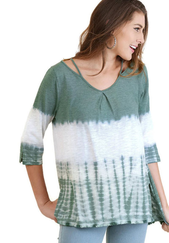 Washed Tie Dye Fringed Tunic, Seaweed