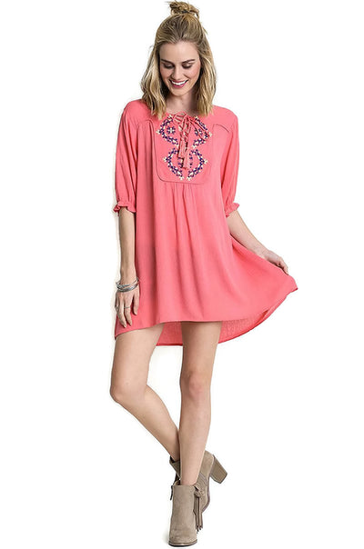 Embroidered Tassel Tie Tunic, Coral