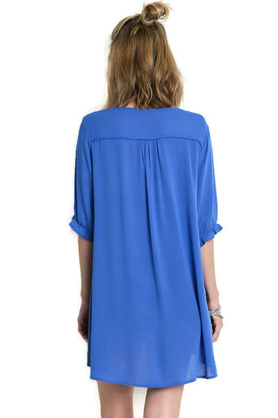 Embroidered Tassel Tie Tunic, Blue