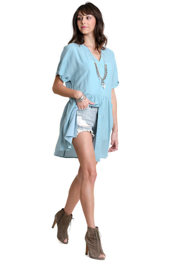 Button Up Tunic, Blue