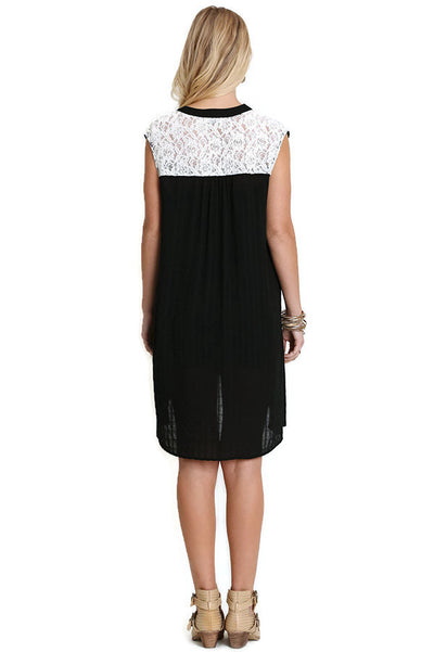 Bohemian Lace Sleeveless Dress, Black