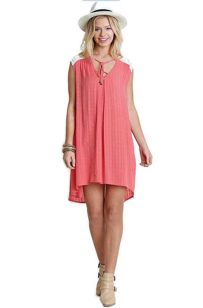 Bohemian Lace Sleeveless Dress, Coral
