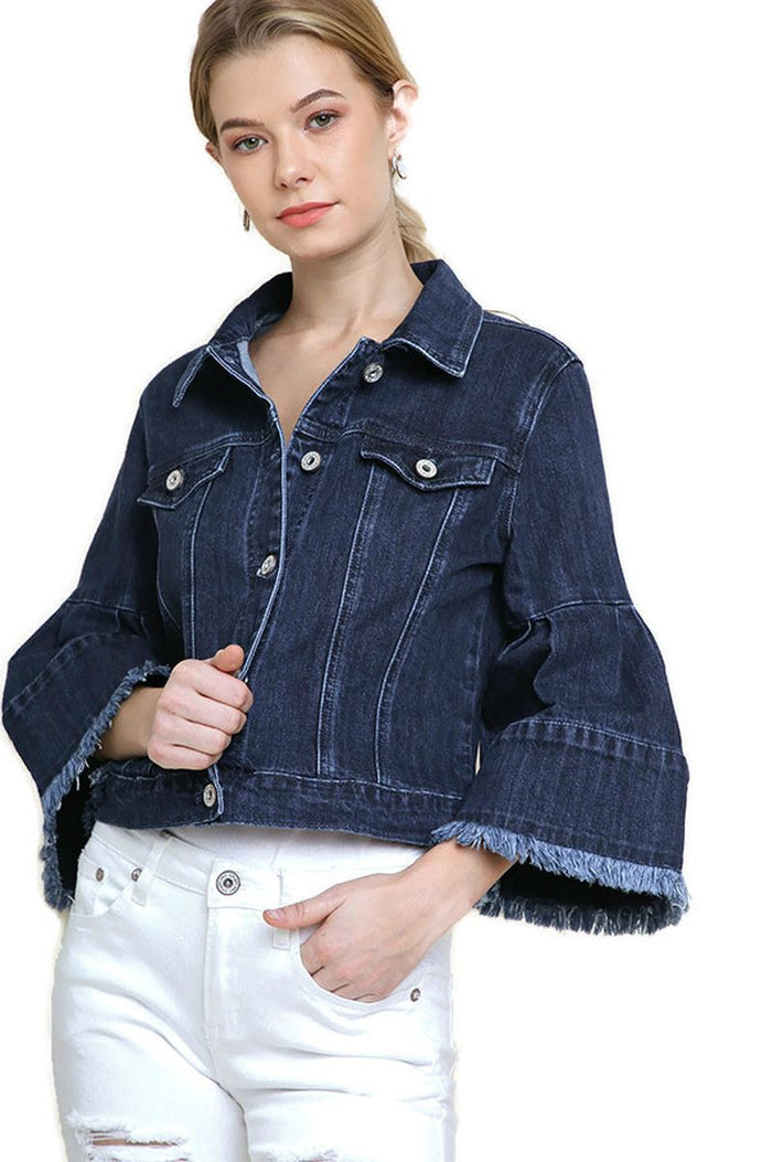 Frayed Bell Sleeve Denim Jacket