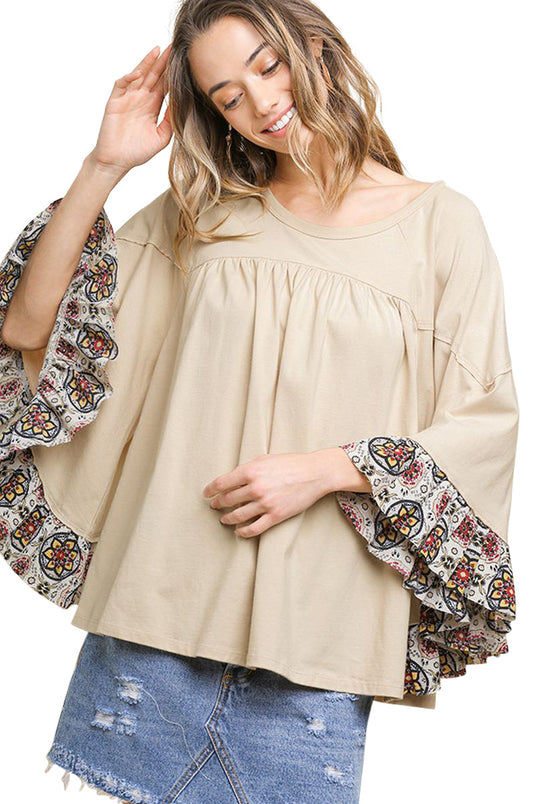 Medallion Ruffled Bell Sleeve Top, Natural