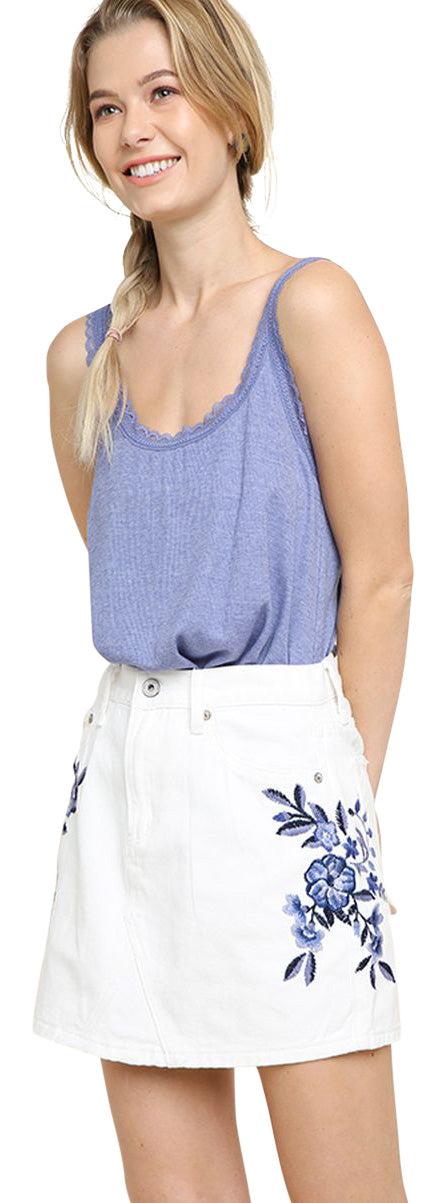 Floral Embroidered Mini Skirt, White Denim