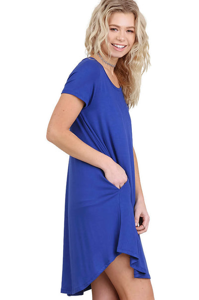 Short Sleeve A-Line Pocket Dress, Cobalt