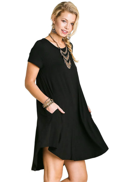 Short Sleeve A-Line Pocket Dress, Black