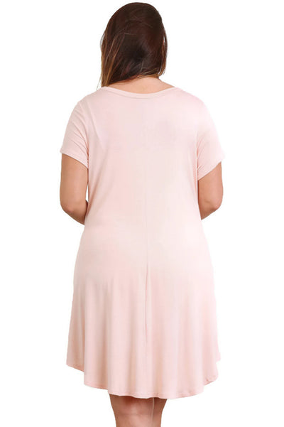 Short Sleeve A-Line Pocket Dress, Blush