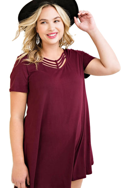 Modal Strappy Tee Shirt Dress, Burgungy