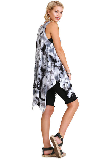 Tie Die Sleeveless Tunic, Black Mix