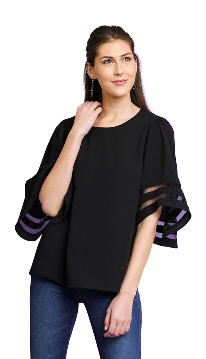 Mesh Burnout Bell Sleeve Top, Black