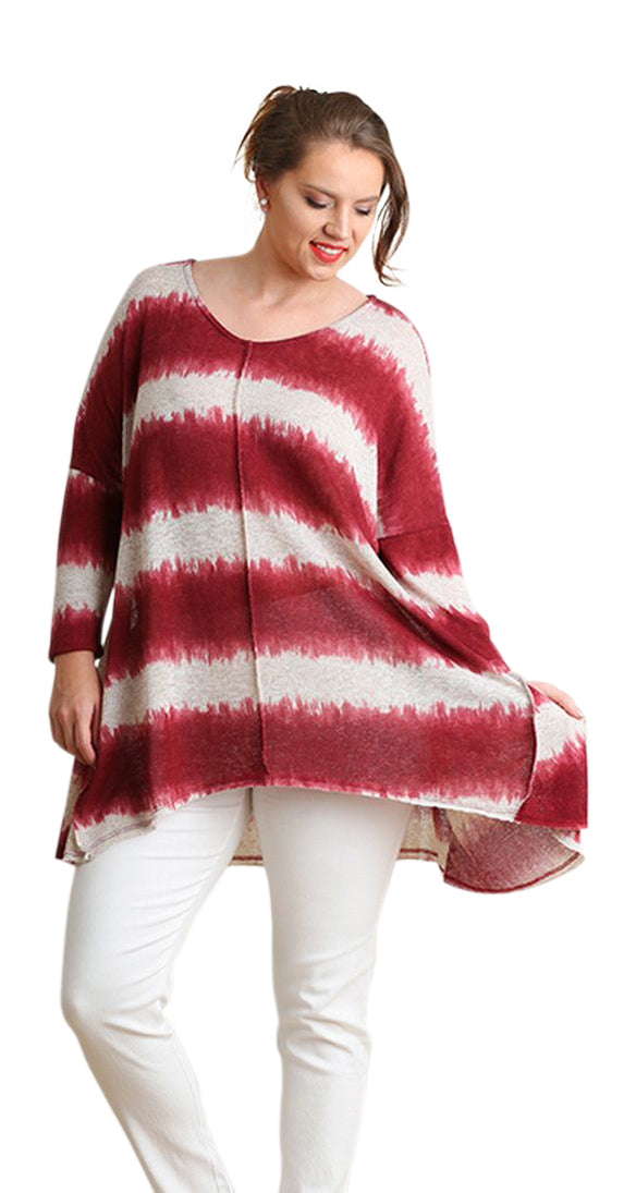 Tie Dye Striped Tunic, Burgundy