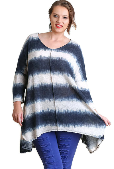 Tie Dye Striped Tunic, Navy
