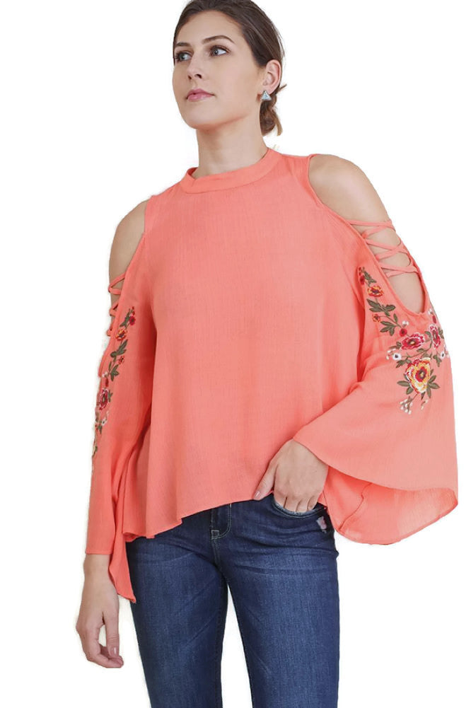 455a0d7e4d7d10 Floral Embroidered Bell Sleeve Top, Coral - Violet Skye Boutique