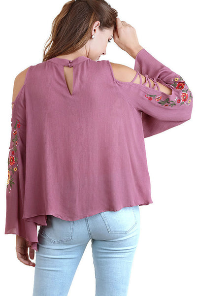 Floral Embroidered Bell Sleeve Top, Mauve