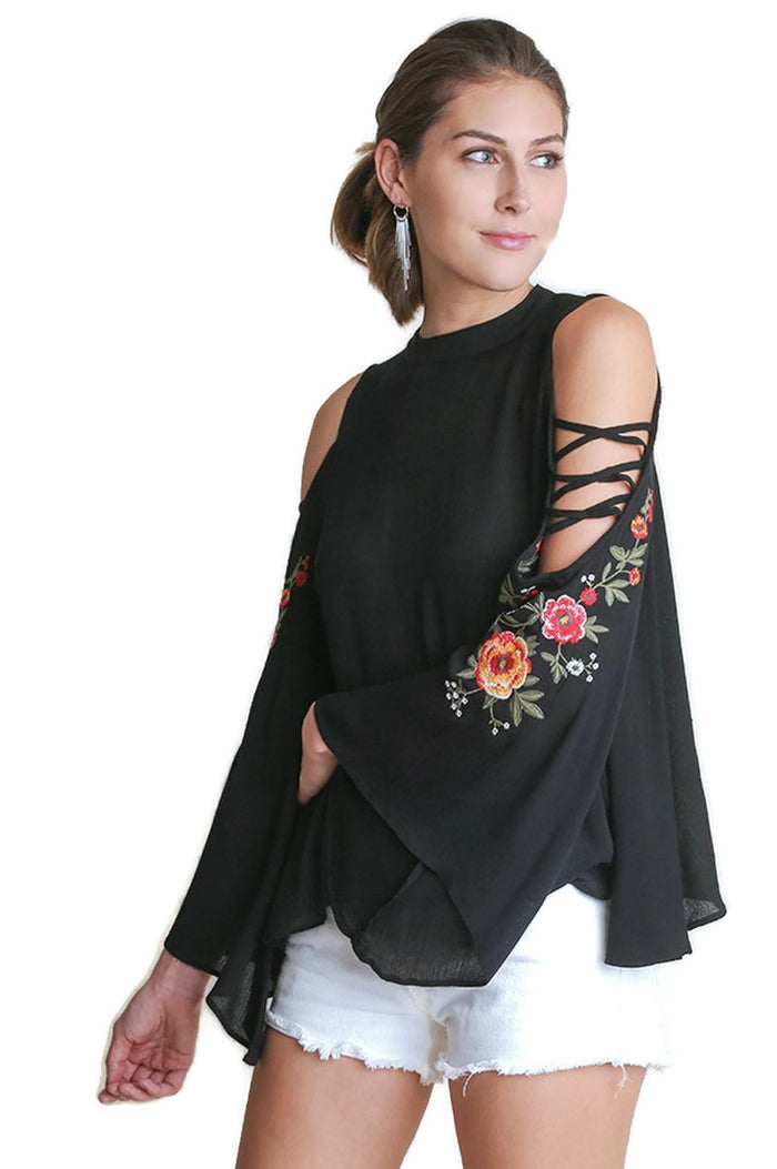 Floral Embroidered Bell Sleeve Top, Black