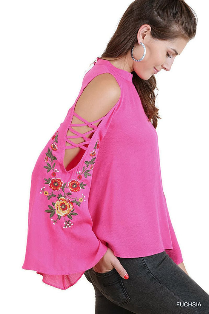 Floral Embroidered Bell Sleeve Top, Fuchsia