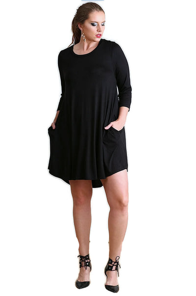 Scalloped Hem T-Shirt Dress, Black