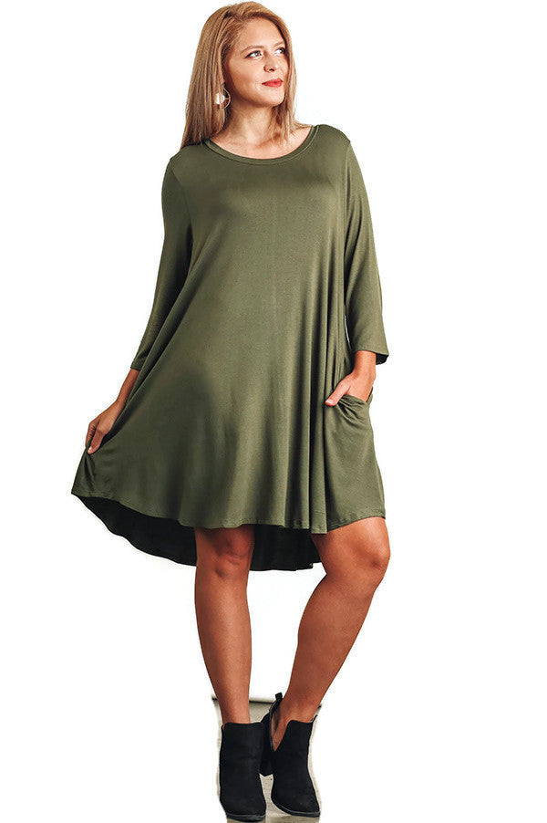 Scalloped Hem T-Shirt Dress, Olive
