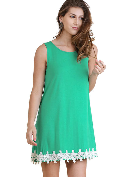Cutout Back Crochet Hem Dress, Emerald