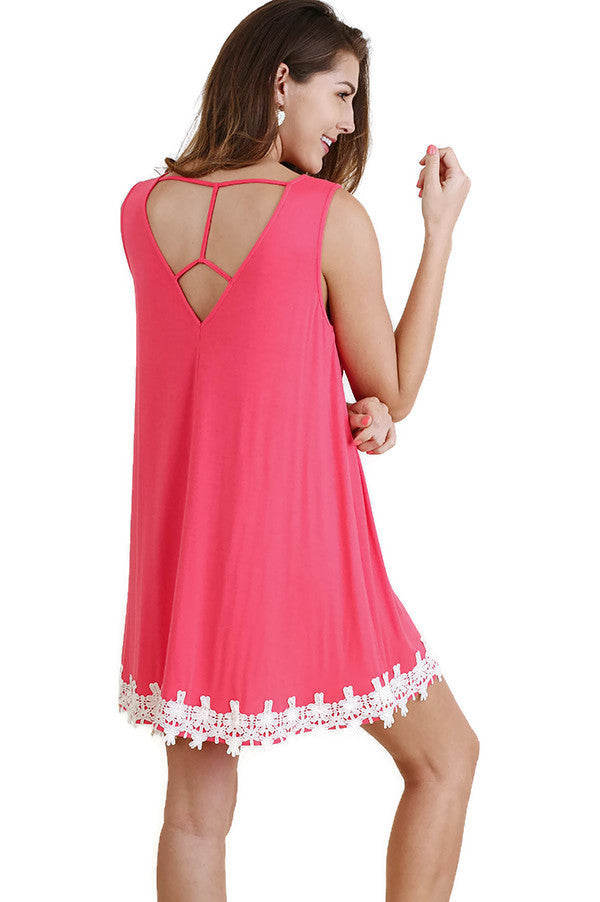 Cutout Back Crochet Hem Dress, Strawberry