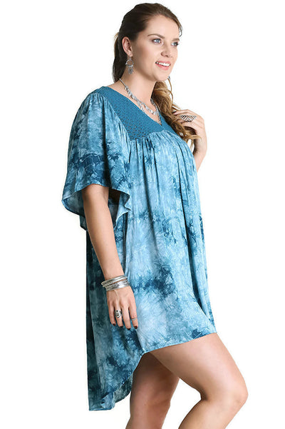 Crystal Crochet Washed Dress, Teal