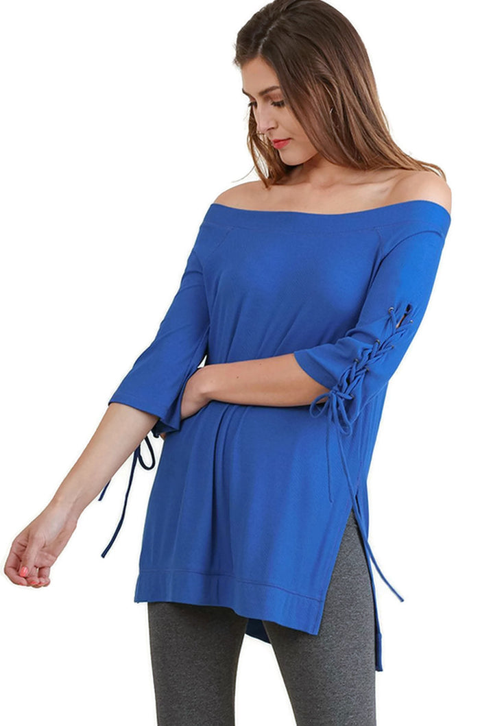 Casual Cutie Lace Up Top, Cobalt