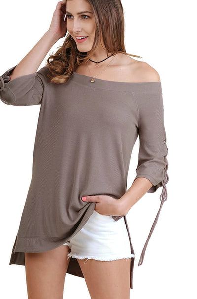 Casual Cutie Lace Up Top, Mocha