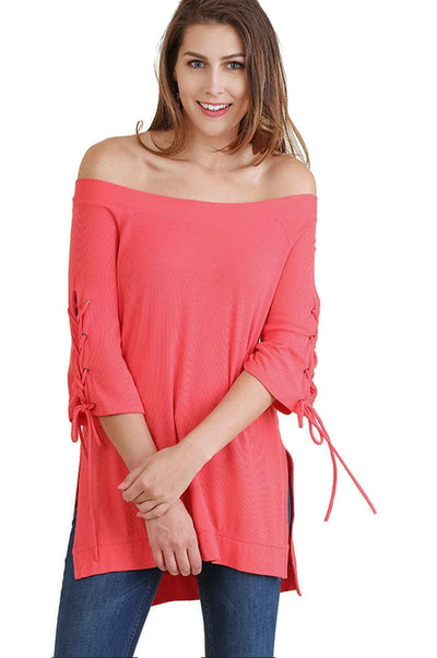 Casual Cutie Lace Up Top, Strawberry