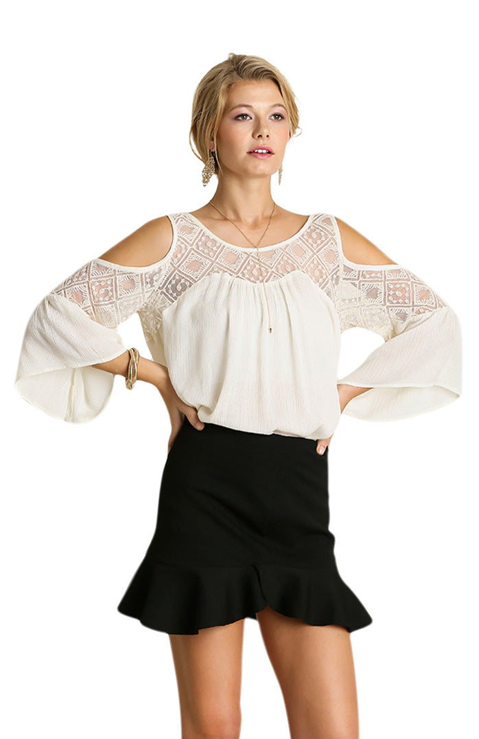 Cold Shoulder Top with Lace Details, Cream