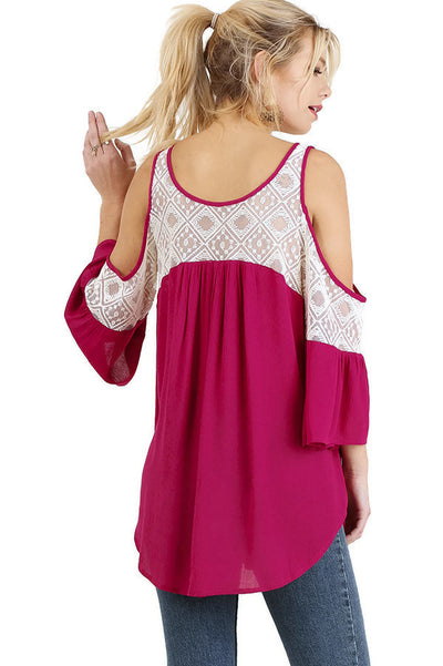Cold Shoulder Top with Lace Details, Berry