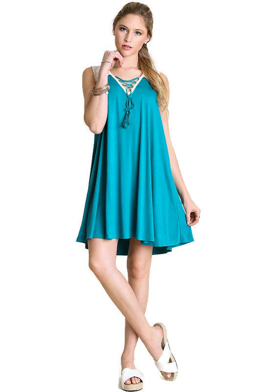 Lace Up Tassel Tie Dress, Teal