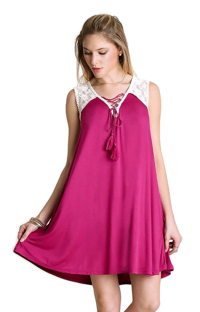 Lace Up Tassel Tie Dress, Berry