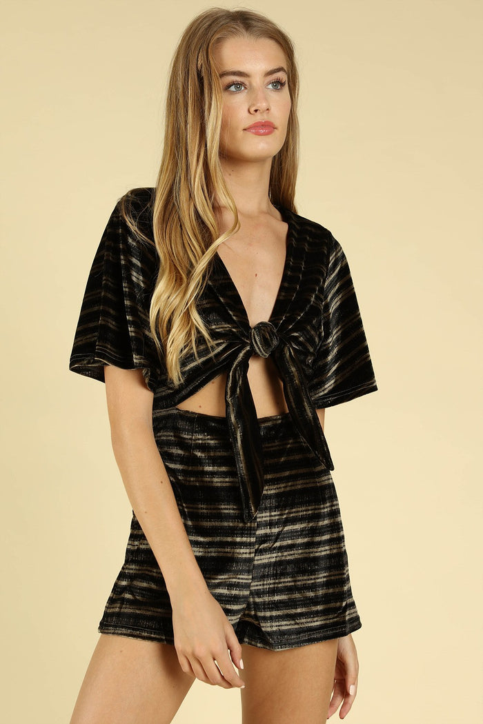 Some like it Striped Velvet Romper, Black