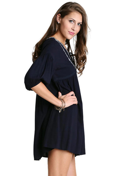 Front Tie Peasant Dress, Navy