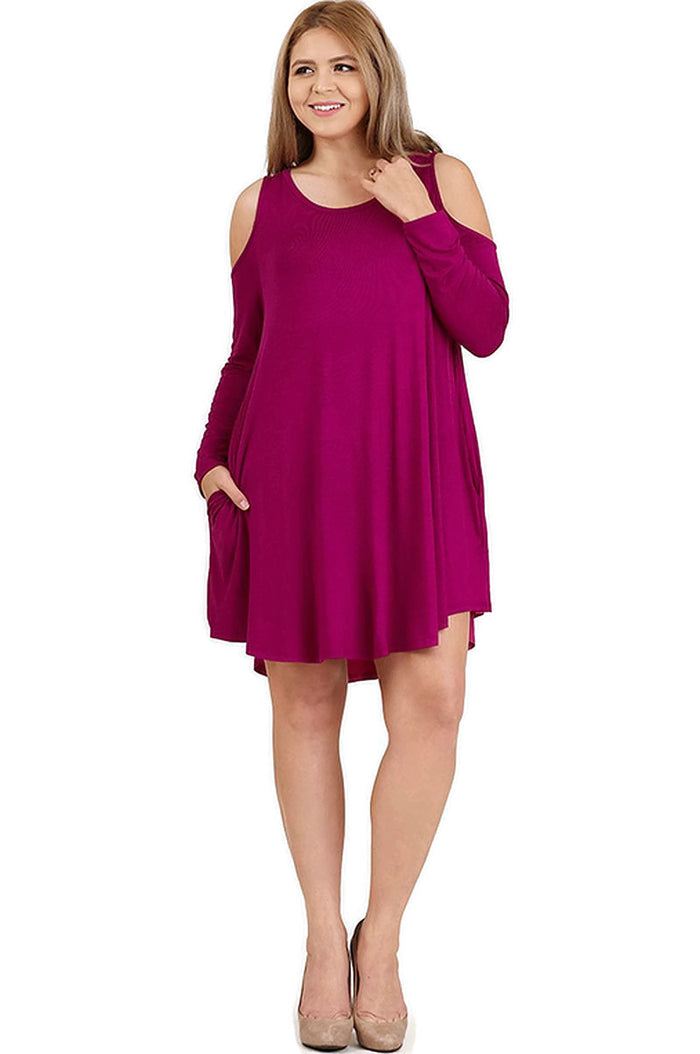 Cold Shoulder T-Shirt Dress, Raspberry