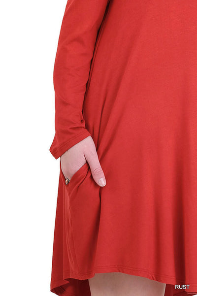 Cold Shoulder T-Shirt Dress, Rust