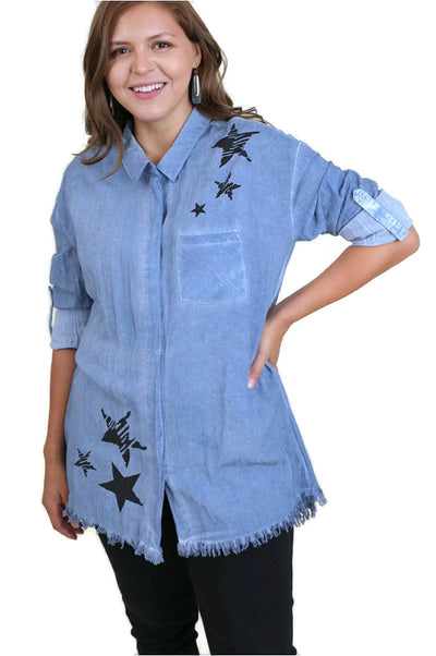 Frayed Button Up Shirt, Denim