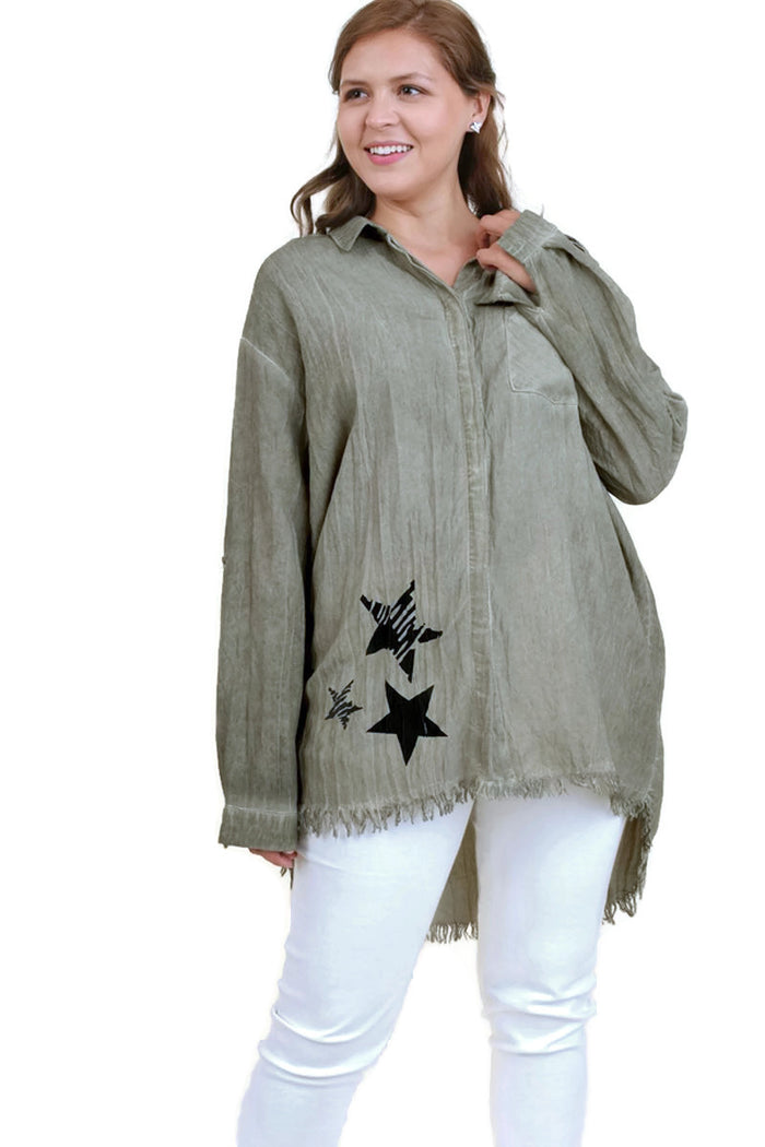 Frayed Button Up Shirt, Olive