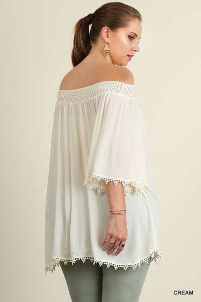 Off The Shoulder Lace Trim Tunic, Cream