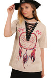 Dream Catcher Lace Up Graphic Top, Latte