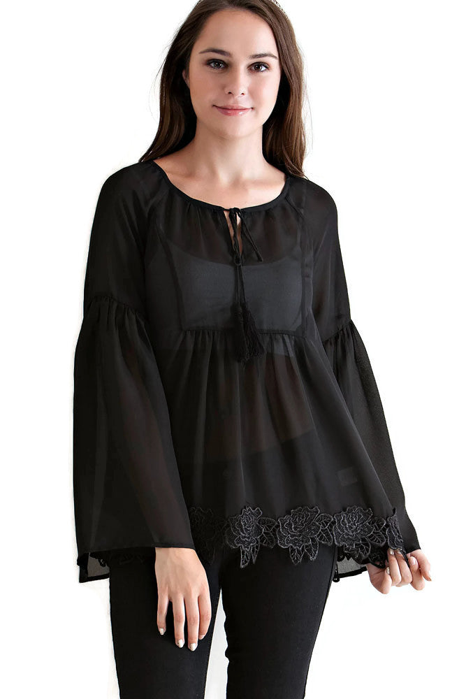 Lace, Bell & Tassel Tunic, Black