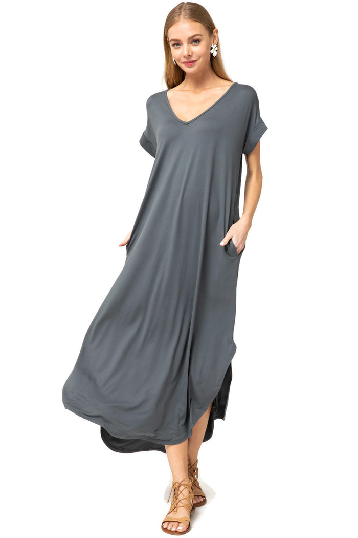 everyday maxi dress charcoal entro