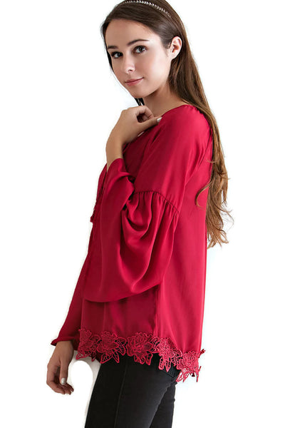 Lace, Bell & Tassel Tunic, Red