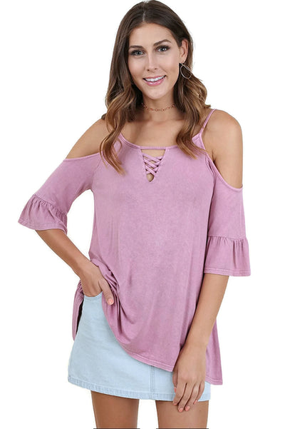 Mineral Washed Cold Shoulder Top, French Rose